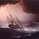 Ship caught in a storm